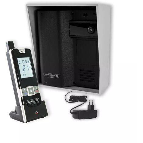 Interphone 600 mètres individuel sans-fil - UltraCOM2 NOIR 600-SOLO visière argentée + transformateur + combiné