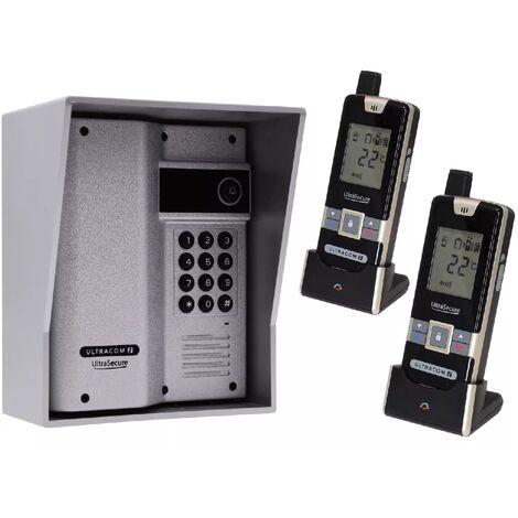 Interphone 600m autonome digicode sans-fil longue distance - UltraCOM2 ARGENTÉ 600AK-SOLO + visière argent + 2 combinés