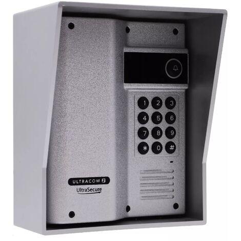 """main image of """"Interphone 600m autonome digicode sans-fil longue distance - UltraCOM2 ARGENTÉ 600AK-SOLO + visière argent + 2 combinés"""""""