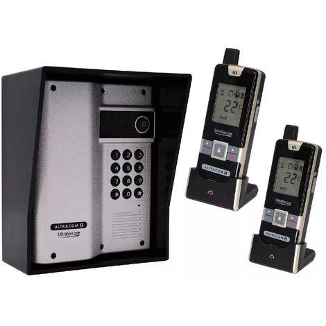 Interphone 600m autonome digicode sans-fil longue distance - UltraCOM2 ARGENTÉ 600AK-SOLO + visière noire + 2 combinés