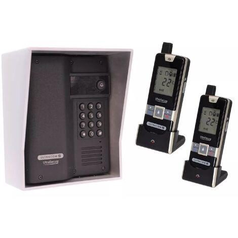 Interphone 600m autonome digicode sans-fil longue distance - UltraCOM2 NOIR 600AK-SOLO + visière argentée + 2 combinés
