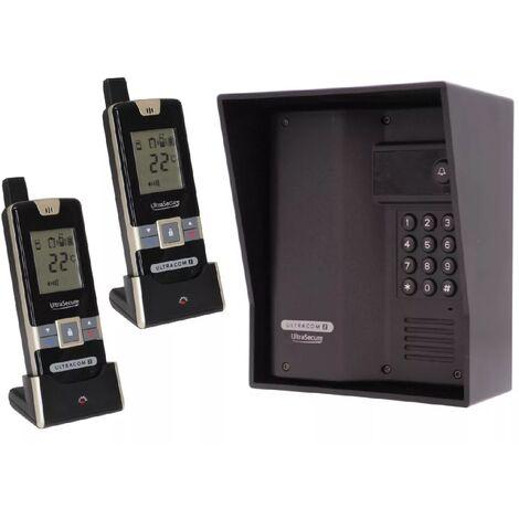 Interphone 600m autonome digicode sans-fil longue distance - UltraCOM2 NOIR 600AK-SOLO + visière noire + 2 combinés