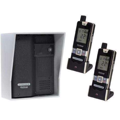 Interphone Drive - 100% sans-fil autonome sur piles 600m longue distance - UltraCOM2 NOIR 600-SOLO + 2 combinés mobiles