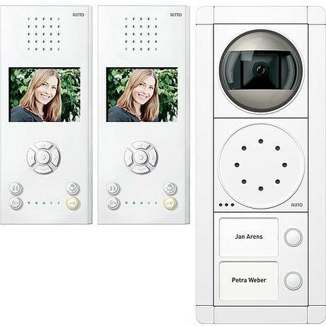 Interphone Ritto Portier vidéo, 2 maisons, blnac/blanc