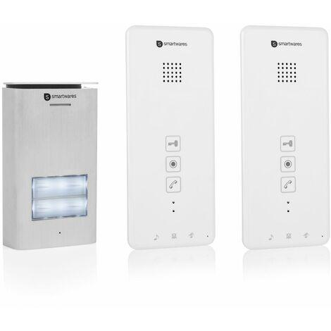 Interphone Smartwares DIC-21122 – Audio 2 voies – Installation bifilaire facile – 52 mélodies – Bouton de sonnette lumineux – Unité extérieure étanche – Kit pour 2 appartements