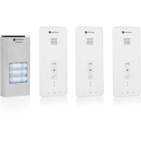 Interphone Smartwares DIC-21132 – Audio 2 voies – Installation bifilaire facile – 52 mélodies – Bouton de sonnette lumineux – Unité extérieure étanche – Kit pour 3 appartements