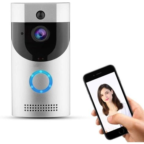 Interphone Sonnette sans Fil, caméra vidéo sans Fil Visible avec Sonnette vidéo Intelligente avec Vision Nocturne Infrarouge/Alerte d'urgence/Surveillance par téléphone Portable