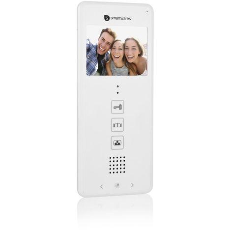 """Interphone vidéo avec moniteur intérieur Smartwares DIC-22102 – 480p – Écran LCD 3,5"""" (8,9 cm) – Facile à installer – 12 mélodies – Extension pour votre interphone vidéo Smartwares DIC-221"""