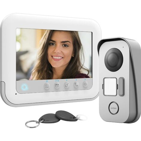 Interphone vidéo Avidsen 112271 2 fils Set complet 1 foyer blanc, gris 1 pc(s) R025441