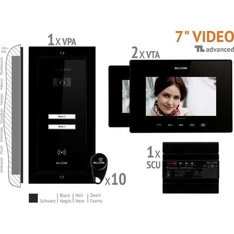 Interphone vidéo Bellcome VKA.P2FR.T7S9.BLB04 filaire Set complet 2 foyers noir 1 pc(s)