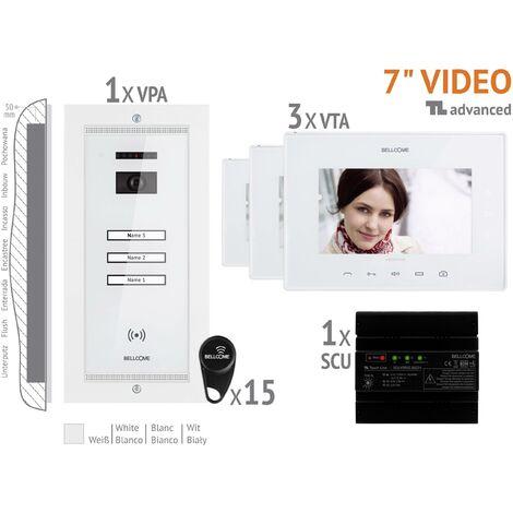 Interphone vidéo Bellcome VKA.P3FR.T7S9.BLW04 filaire Set complet 3 foyers blanc 1 pc(s) X764001