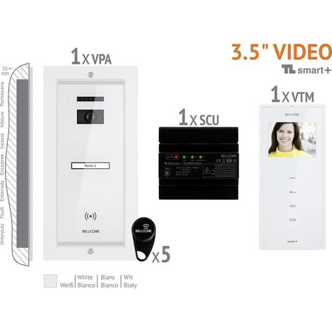 Interphone vidéo Bellcome VKM.P1FR.T3S4.BLW04 filaire Set complet 1 foyer blanc 1 pc(s)