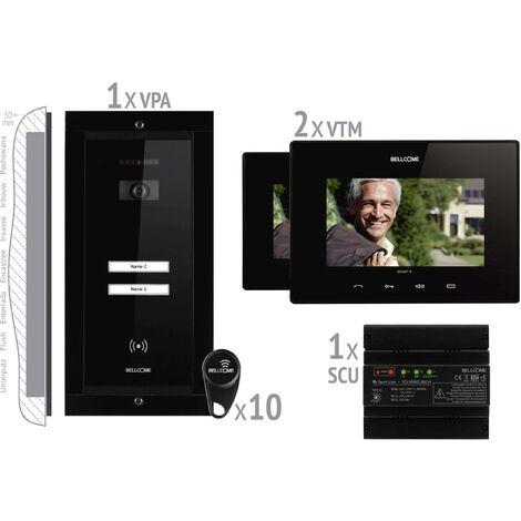 Interphone vidéo Bellcome VKM.P2FR.T7S4.BLB04 filaire Set complet 2 foyers noir 1 pc(s) X764071