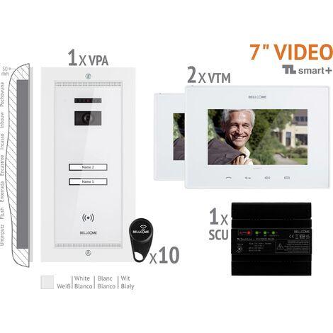 Interphone vidéo Bellcome VKM.P2FR.T7S4.BLW04 filaire Set complet 2 foyers blanc 1 pc(s) X764091
