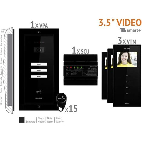 Interphone vidéo Bellcome VKM.P3FR.T3S4.BLB04 filaire Set complet 3 foyers noir 1 pc(s)
