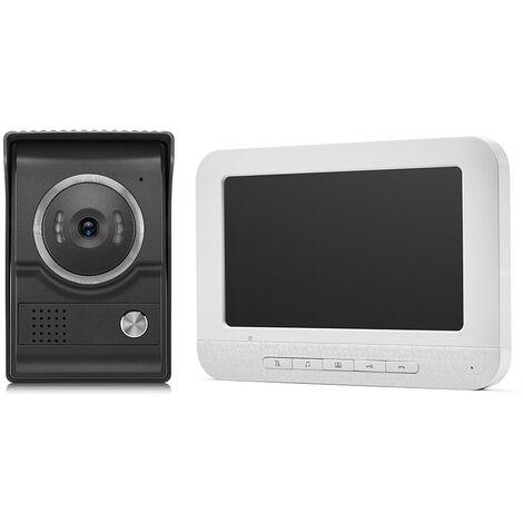 Interphone video filaire 7 pouces sonnette ecran LCD haute definition numerique 1 unite interieure (blanche) + 1 camera de surveillance d'unite exterieure HD 1200TVL Norme europeenne Modele: XSL-V70M + XSL-L +