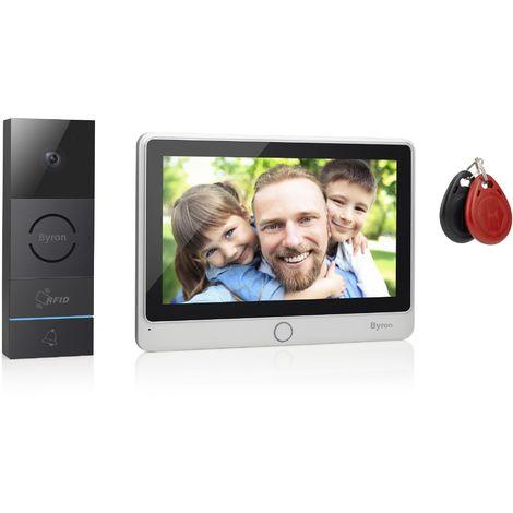 Interphone vidéo filaire Byron DIC-24112 - 2 fils avec communication bidirectionnelle - Écran tactile