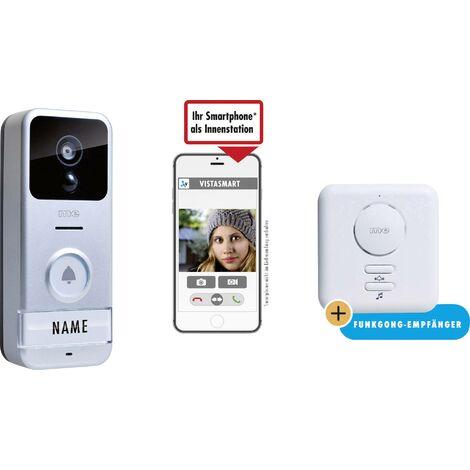 Interphone vidéo IP m-e modern-electronics VS B10 41153 Wi-Fi Station extérieure, Bloc d'alimentation, Sonnette supplémentaire 1 foyer argent, noir X829711