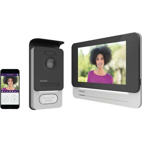 Interphone vidéo Philips 531002 2 fils Set complet 1 foyer noir, aluminium 1 pc(s) C226601