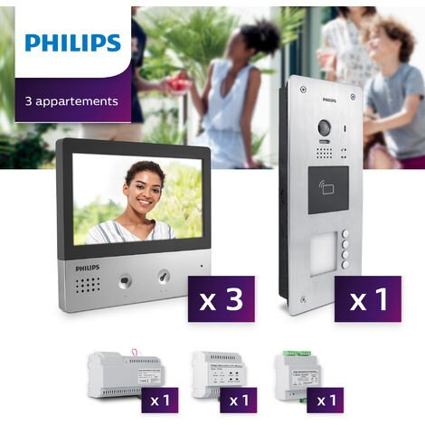 Interphone vidéo Philips Welcome Hive PRO pour 3 appartements - Neuf