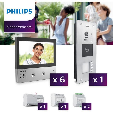 Interphone vidéo Philips Welcome Hive PRO pour 6 appartements - Neuf