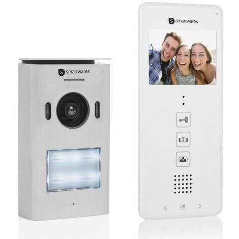 """Interphone vidéo Smartwares DIC-22112 – 480p – Écran LCD de 3,5"""" (8,9 cm) – Caméra panoramique / inclinaison à 15° – Facile à installer – Étanche – 12 mélodies – Vision nocturne"""