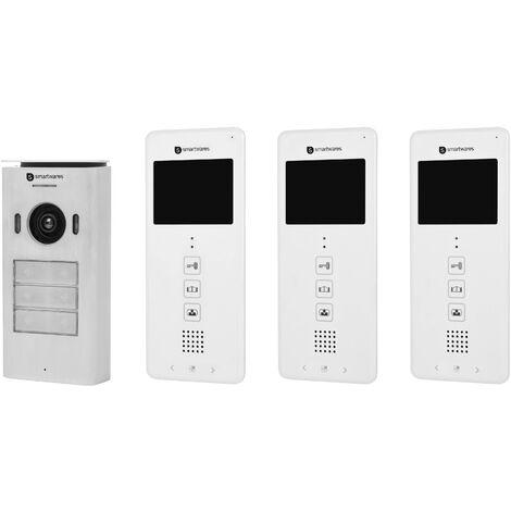 Interphone vidéo Smartwares DIC-22132 DIC-22132 2 fils Set complet 3 foyers blanc 1 pc(s) X981221