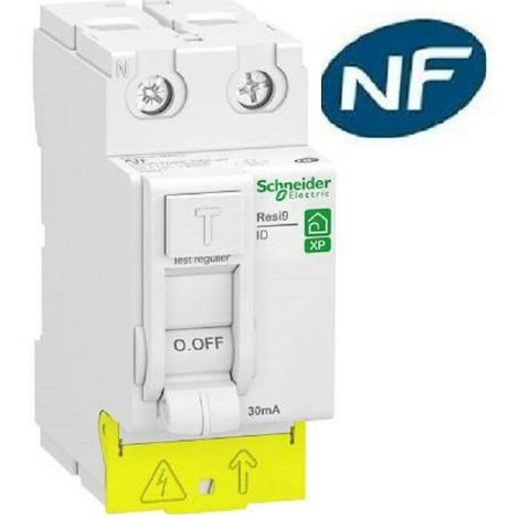Interr. diff. Resi9 XP peignable - 2P 63A 30mA - Type AC - Alim. Bas - Schneider Electric