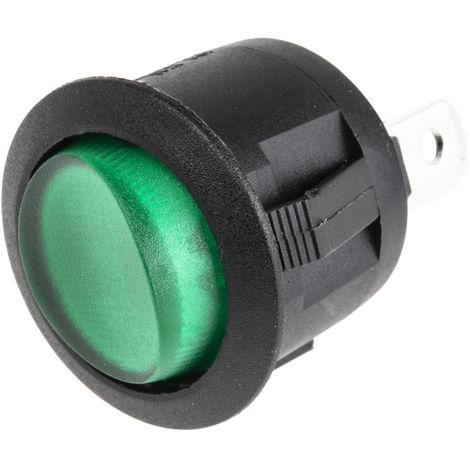 Interrupteur à bascule lumineux Vert Unipolaire à une direction (1NO) Verrouillable