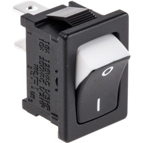 Interrupteur à bascule Non Noir/Blanc Unipolaire à une direction (1NO) Verrouillable