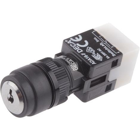 Interrupteur à clé 3 positions NO/NF + NON/NF, Broche CI, 8 A 18mm IP65, Momentanée 250V 2
