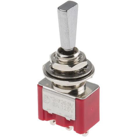 Interrupteur à levier, On-Off-On, Unipolaire à deux directions (1RT), 3 A @ 250 V c.a.