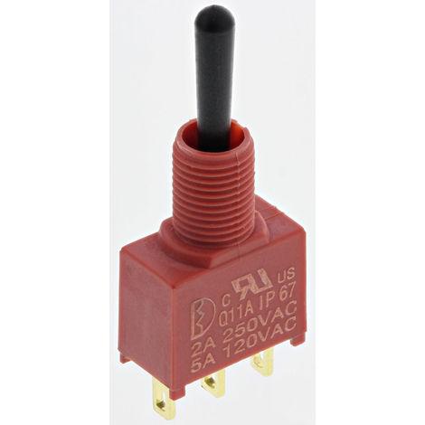 Interrupteur à levier, On-Off-On, Unipolaire à deux directions (1RT), 5 A @ 250 V c.a.