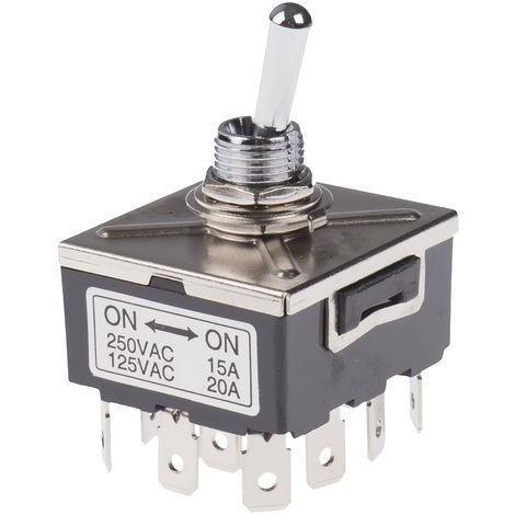 Interrupteur à levier, Verrouillable, Quadripolaire à deux directions (4RT), 20 A, 28 V c.c.