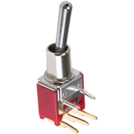 Interrupteur à levier, Verrouillable, Unipolaire à deux directions (1RT), 400 mA @ 20 V