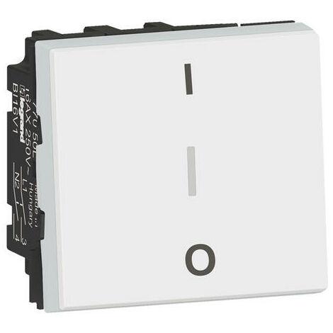Interrupteur bipolaire Mosaic - 16AX - 250V - 2 modules - Blanc - Legrand