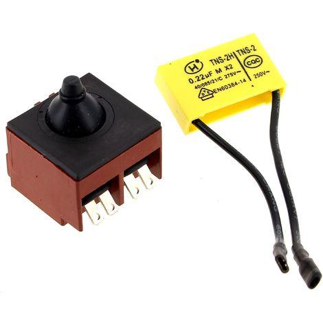 Interrupteur + condensateur 0,22µf pour Meuleuse Milwaukee