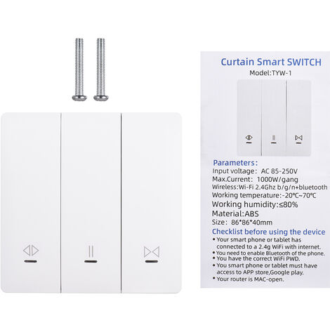 Interrupteur de rideau intelligent Tuya WiFi + Bluetooth Interrupteur de commande de rideau RF 433MHz, sans autocollants gratuits Modele: TY-220VCL (sans autocollants gratuits)