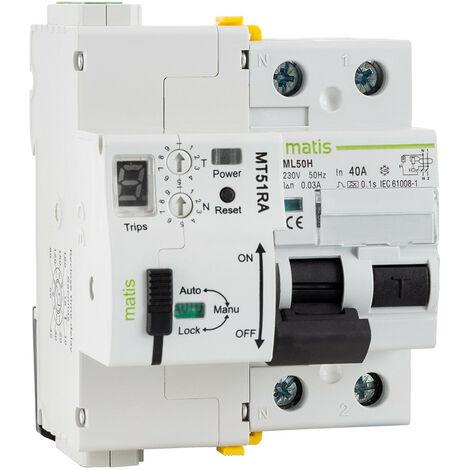 Interrupteur Diférenciel Réarmable Programmable RS485 2P-40A-30mA-10kA