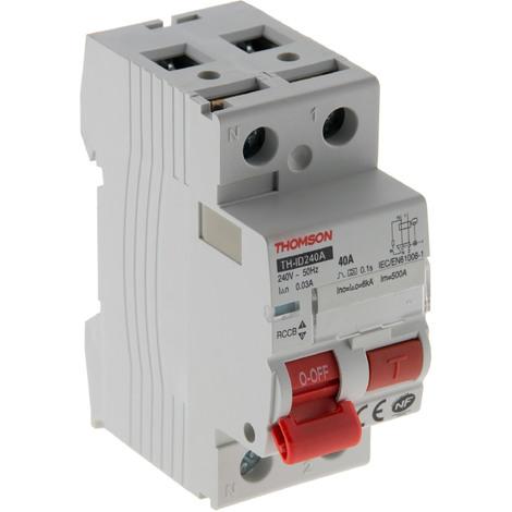 Interrupteur différentiel à vis Thomson - 30mA - type A ou type AC - 40A ou 63A NF