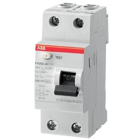 Interrupteur differentiel 25A 2P 30mA type AC bornes de raccordement auto FH202S ABB 444041