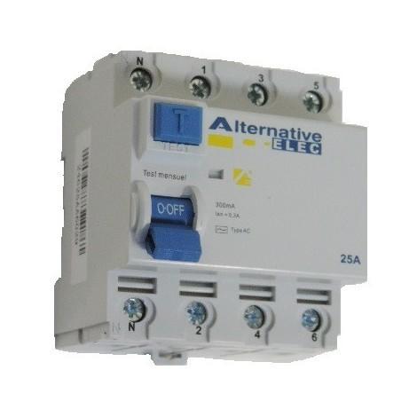 Interrupteur differentiel 25A 4P 300mA type AC à bornes vis alignées norme CE ALTERNATIVE ELEC AE24625