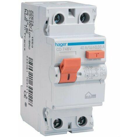 Interrupteur différentiel 2P 25A 30 mA CA BOITIER Hager CD728V
