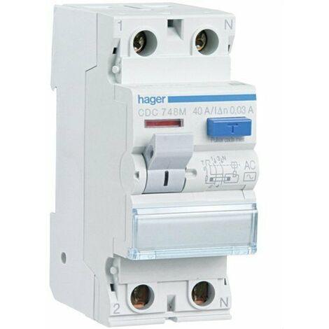 Interrupteur différentiel 2P 25A 30 mA CA RÉSIDENTIEL Hager CDC728M