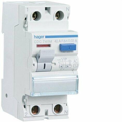 Interrupteur différentiel 2P 40A 30 mA AC RÉSIDENTIEL Hager CDC748M