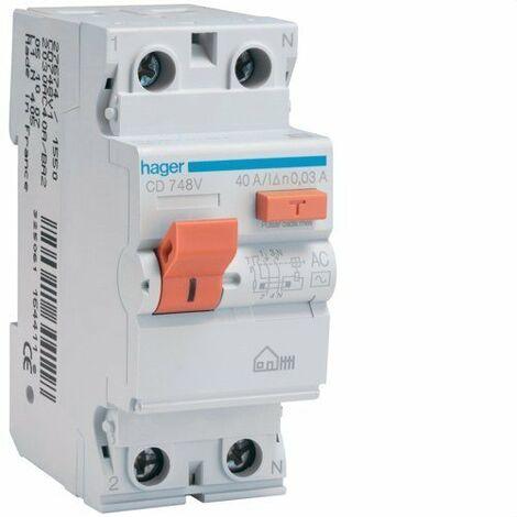 Interrupteur différentiel 2P 40A 30 mA CA BOITIER Hager CD748V