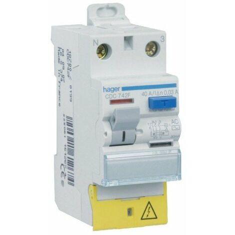 Interrupteur différentiel 2P 40A 30mA - Type AC