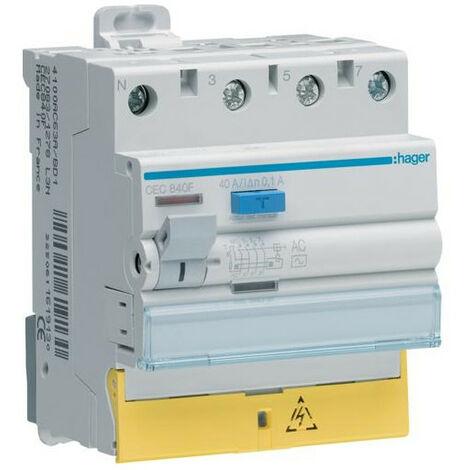 Interrupteur différentiel 3P+N 40A 100mA type AC à bornes décalées HAGER CEC840F