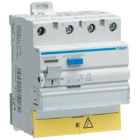 Interrupteur différentiel 3P+N 40A 30mA type haute immunité à bornes décalées HAGER CDH840F