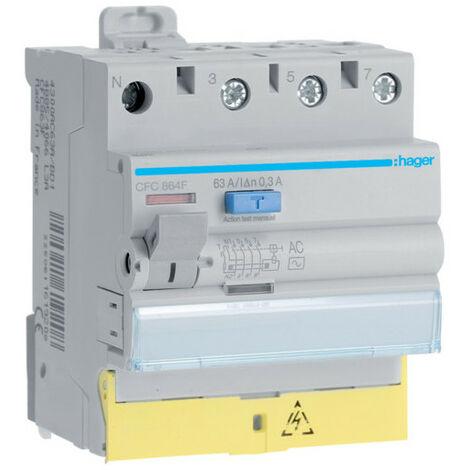 Interrupteur différentiel 3P+N 63A 300mA type AC à bornes décalées 50/60HZ (CFC864F)